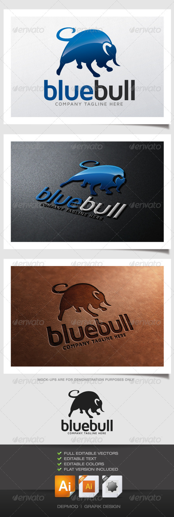 GraphicRiver Blue Bull Logo 4823305