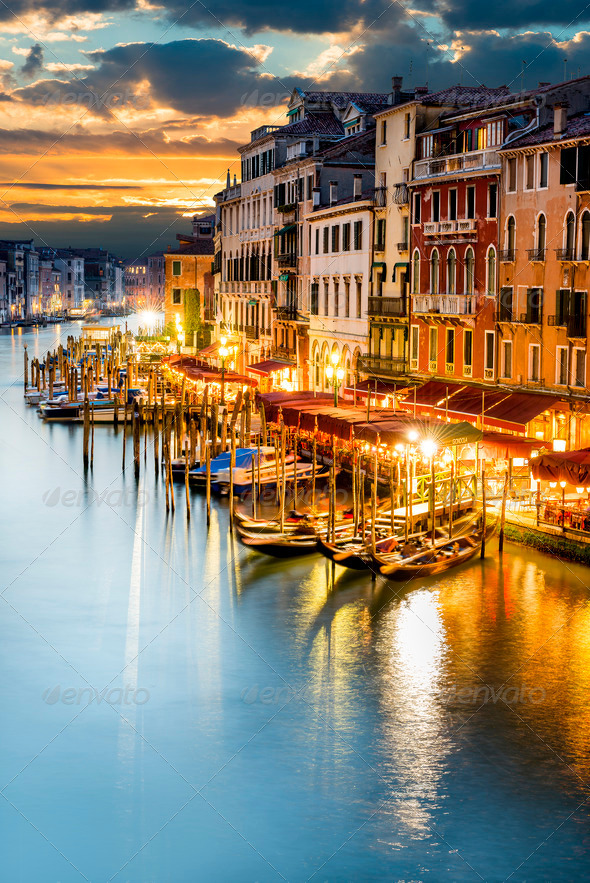 Grand Canal at night, Venice - Stock Photo - Images