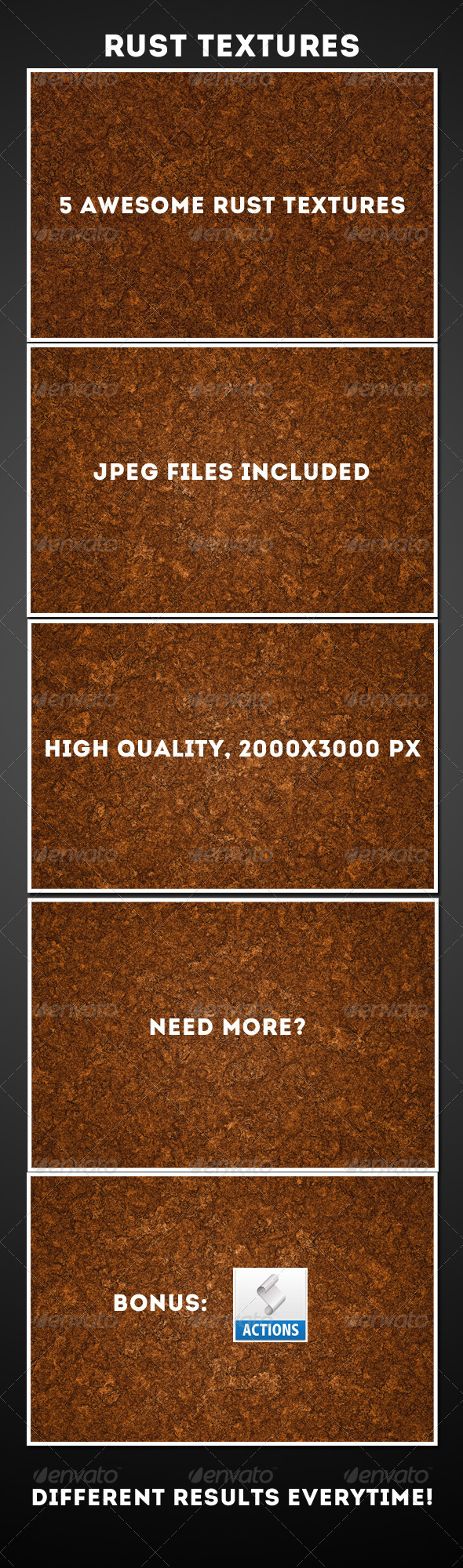 GraphicRiver 5 Rust Texture & Action pack 4823566
