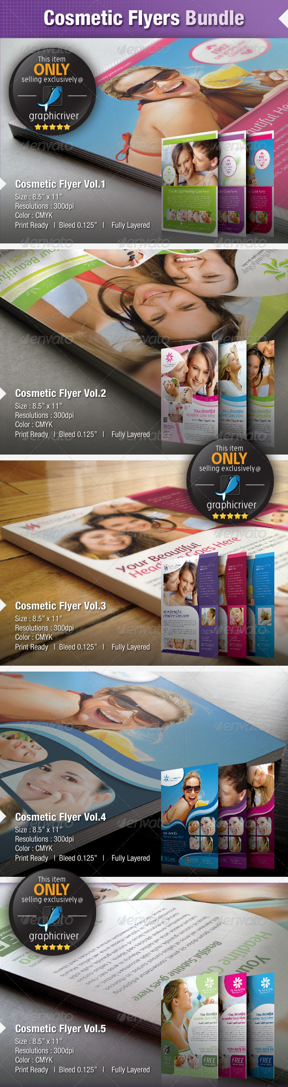 GraphicRiver Cosmetic Flyers Bundle 4823573