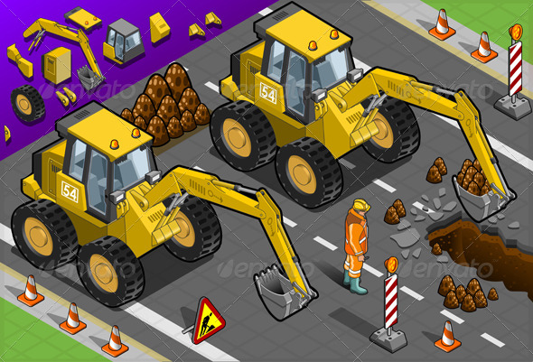 GraphicRiver Isometric Yellow Excavator in Front View 4823579