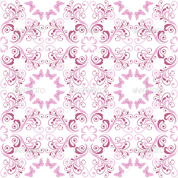 GraphicRiver Pink Floral Seamless Pattern 4824293
