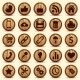 Social Icons Wood Texture Buttons Set - GraphicRiver Item for Sale