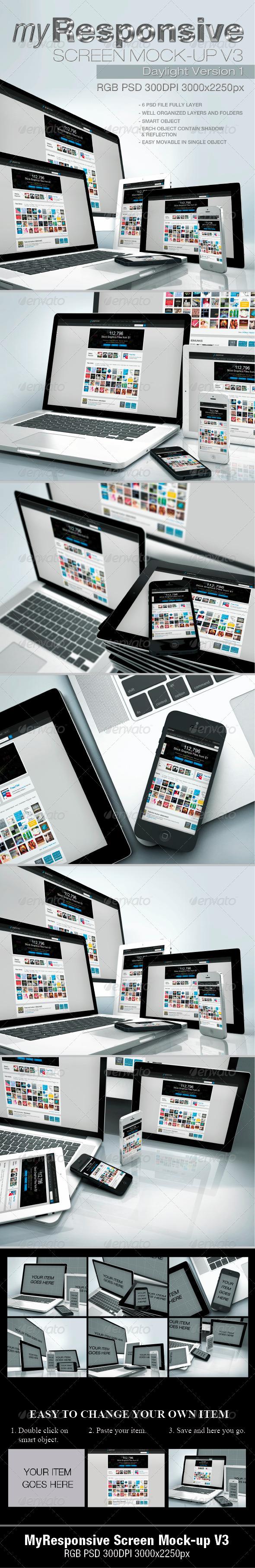 GraphicRiver myResponsive Screen Mock-Ups v3 4825480