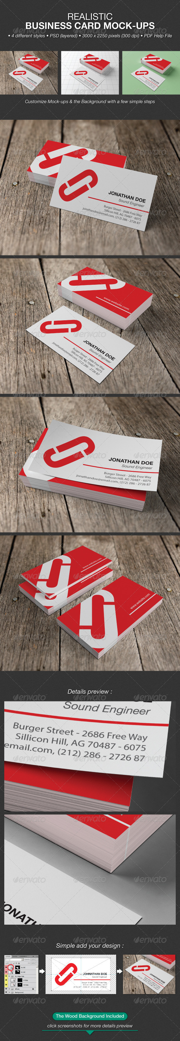 Realistic Business Card Mock-Ups - Business Cards Print