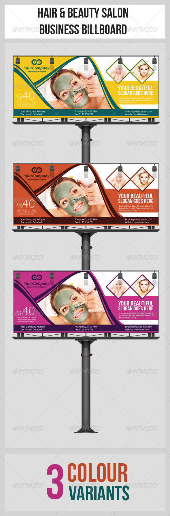Hair & Beauty Salon Business Billboard  - Signage Print Templates