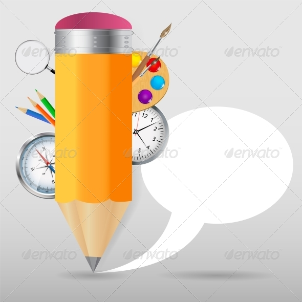 GraphicRiver Pencil with Speech Bubble Vector Illustration 4826297