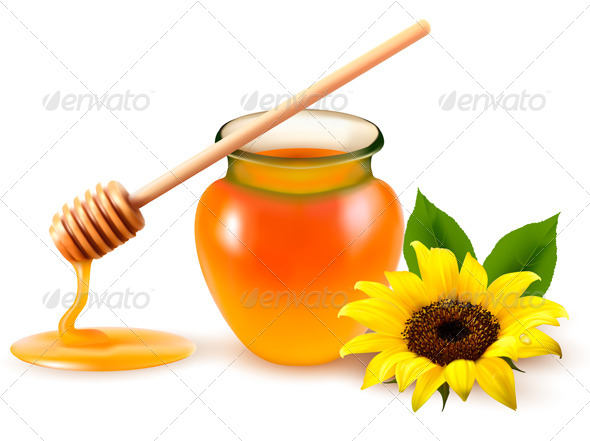 GraphicRiver Jar of Honey and a Dipstick with Yellow Flower 4826338