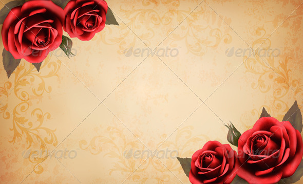 GraphicRiver Retro Background with Beautiful Red Roses 4826442