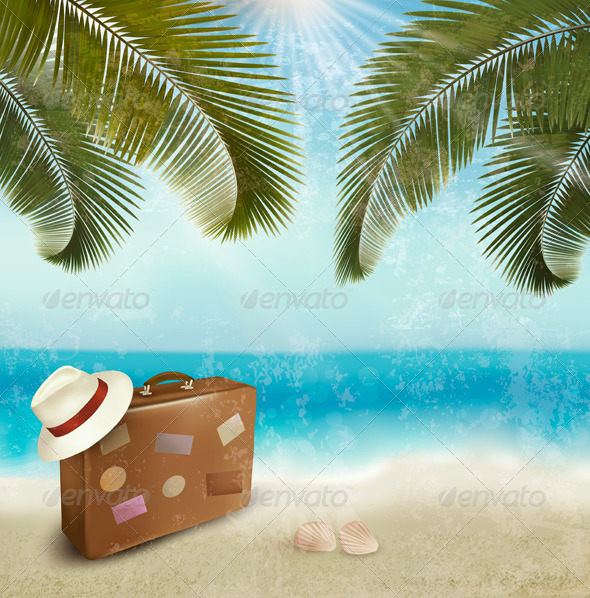 GraphicRiver Vintage Beautiful Seaside Background with Suitcase 4826484