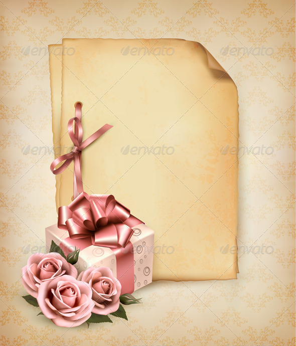 GraphicRiver Holiday Retro Background with Pink Roses and Gift 4826488