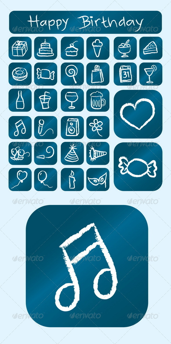 GraphicRiver Birthday Icons Chalk Drawing Style 4826815