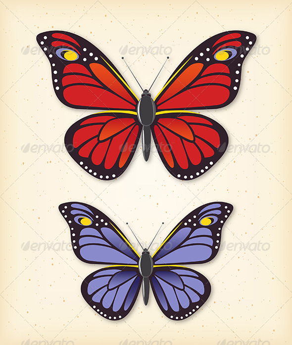 GraphicRiver Summer Butterfly Vector Set 4826895