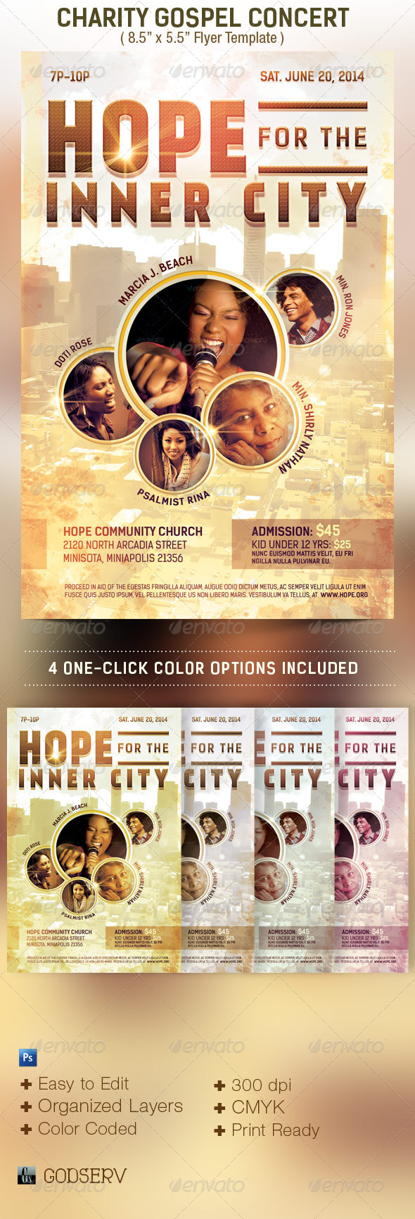 Charity Concert Flyer Template - Church Flyers