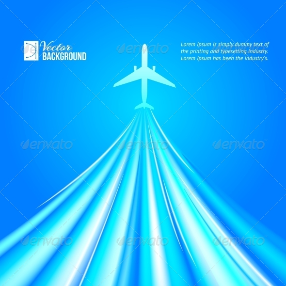 GraphicRiver Airplane over Blue Background 4827063