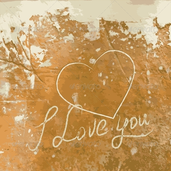GraphicRiver I Love You with Heart on the Concrete Wall 4827082