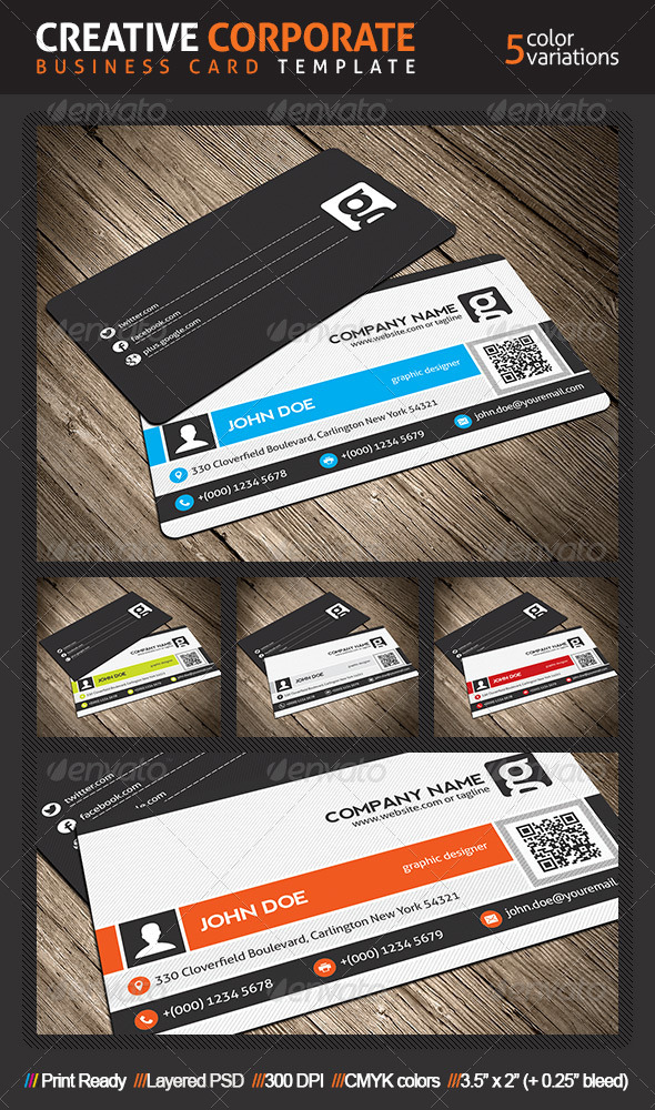 GraphicRiver Creative Corporate Business Card With QR Code 4827292