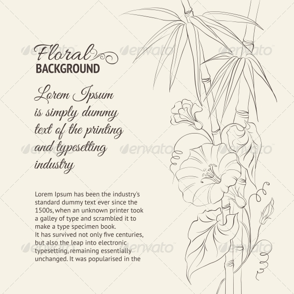 GraphicRiver Bindweed Flower and Bamboo 4827592