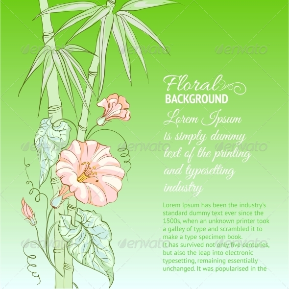 GraphicRiver Bindweed Flower and Bamboo 4827789