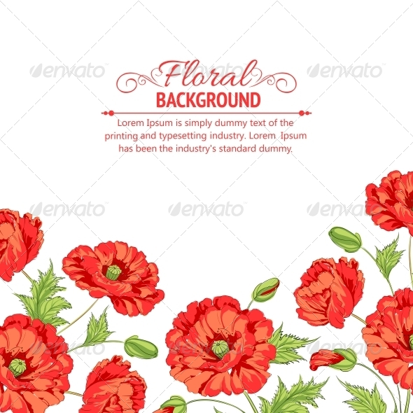 GraphicRiver Red Poppy Card 4827923
