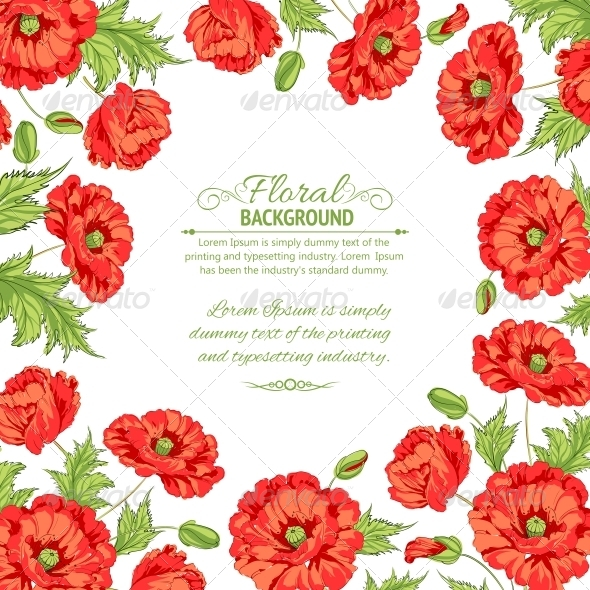 GraphicRiver Frame with Wreath of Poppies Isolated on White 4827939