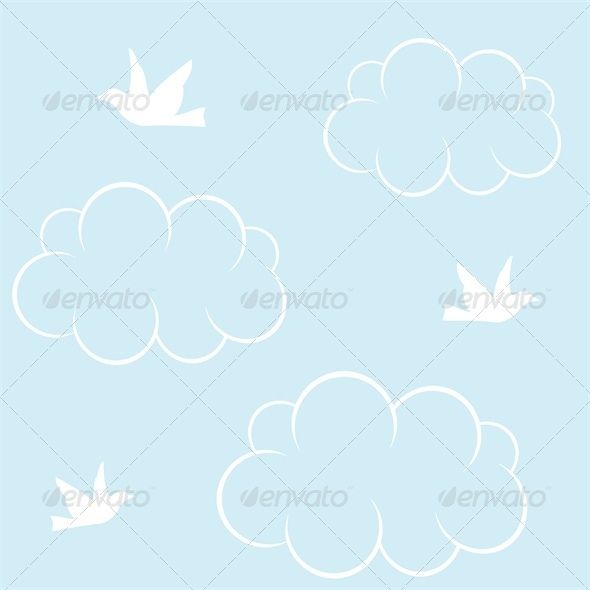 GraphicRiver Seamless Background with White Birds and Clouds 4827968