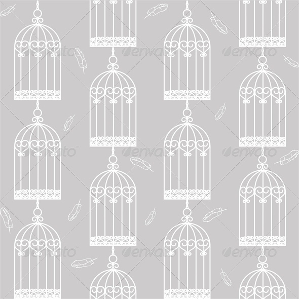 GraphicRiver Gray Seamless Background with Birdcages 4827977