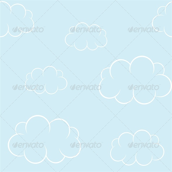 GraphicRiver Cartoon Clouds on Blue Sky Seamless Background 4827983