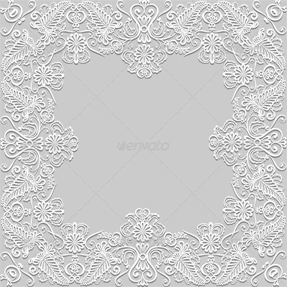 GraphicRiver White Floral Paper Lace Frame 4828000