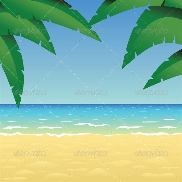 GraphicRiver Ocean Sand Beach and Palm 4828020