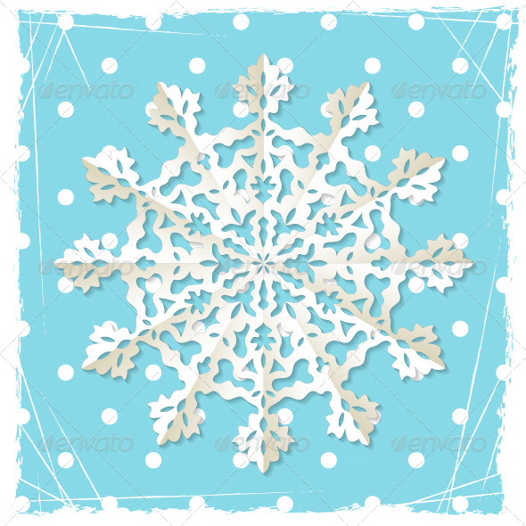 GraphicRiver Christmas Grunge Background Origami Snowflake 4828578