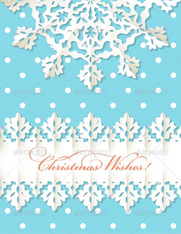 GraphicRiver Christmas Origami Snowflake Vector Background 4828670