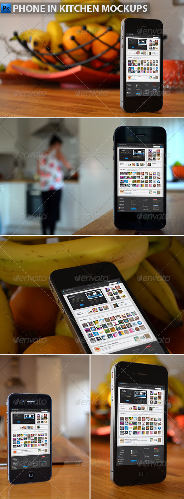 GraphicRiver Phone in Kitchen Mock-Ups 4828706