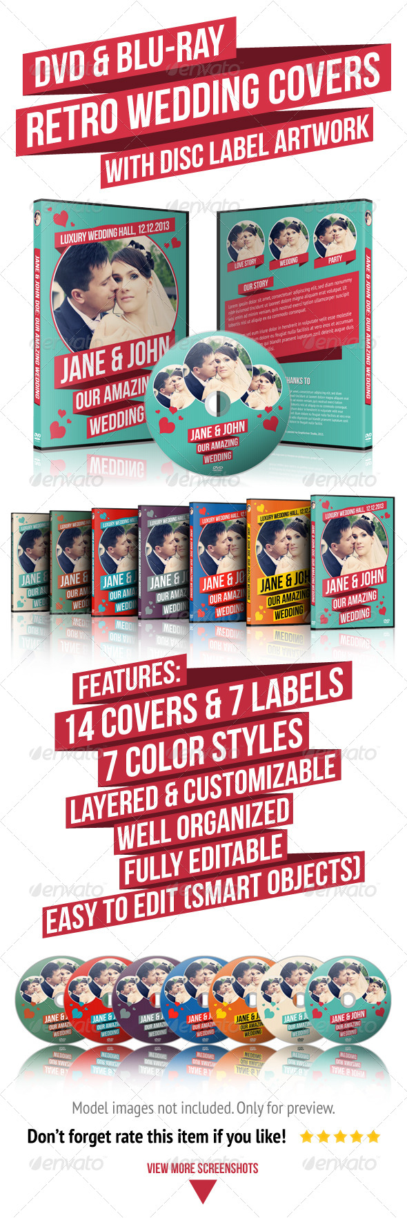 GraphicRiver Retro Wedding DVD & Blu-ray Covers With Disc Label 4828775