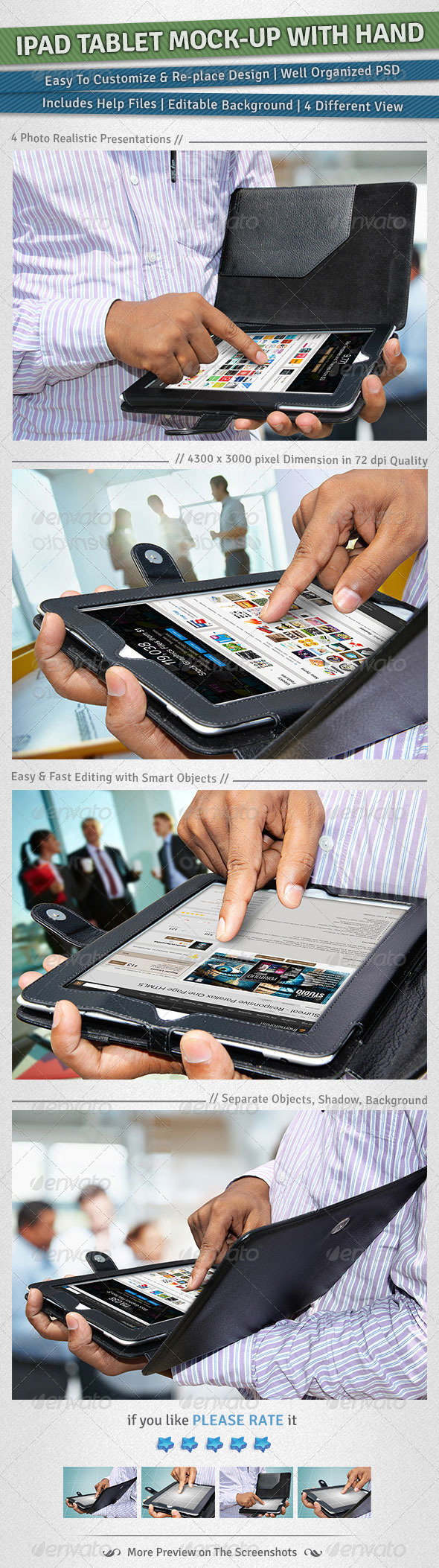 GraphicRiver iPad Tablet Mock-up with Hand 4829349