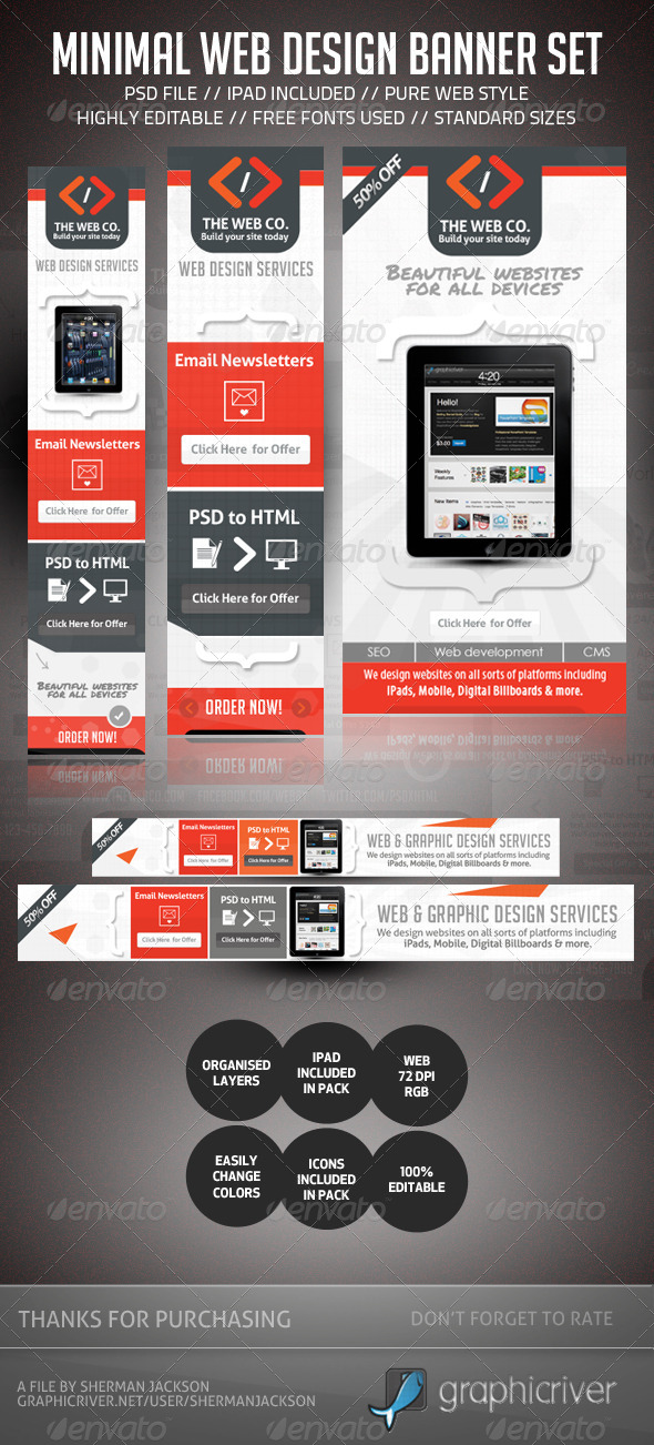 Minimal Web Design AD Banner Set