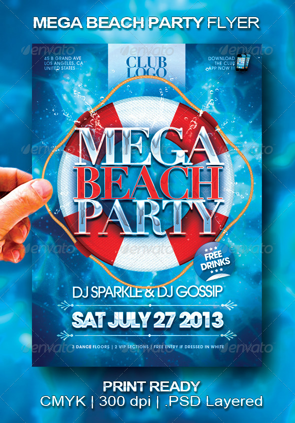 Mega beach party flyer graphicriver for Club piscine flyer