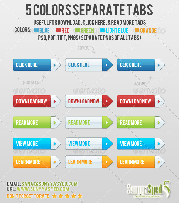 GraphicRiver 5 Colors Separate Tabs 4753424