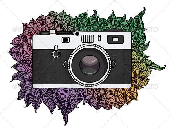 GraphicRiver Retro Photo Camera with Abstract Pattern 4832012