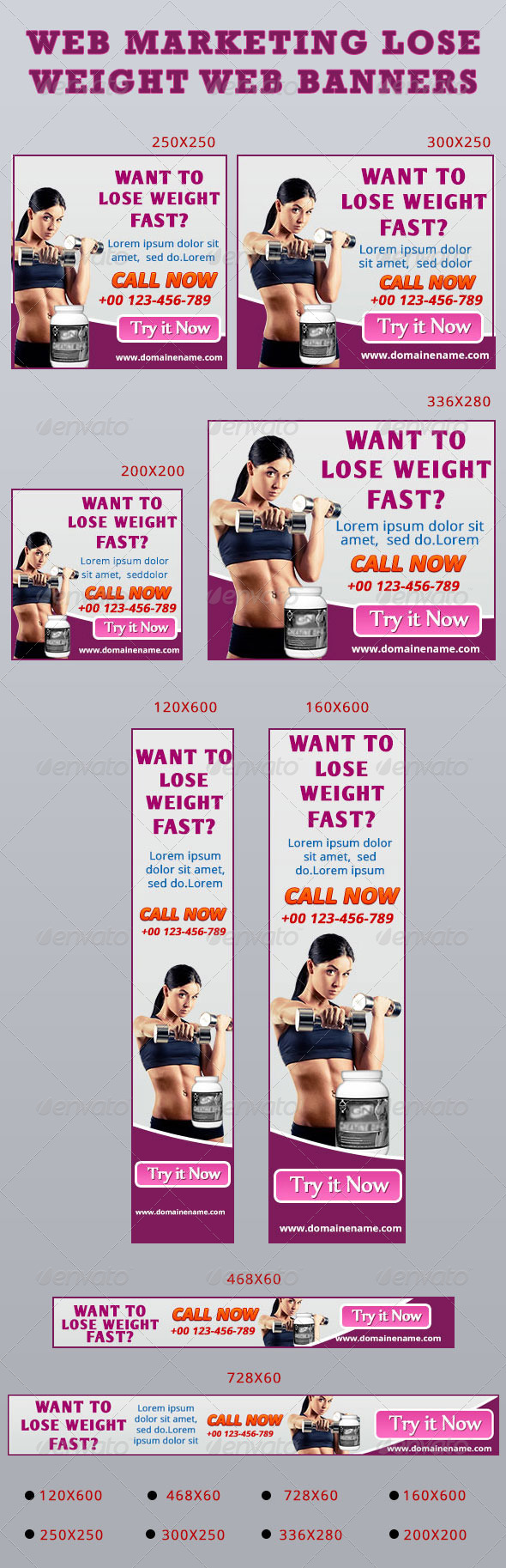 Web Marketing Lose Weight Web Banners - Banners & Ads Web Elements