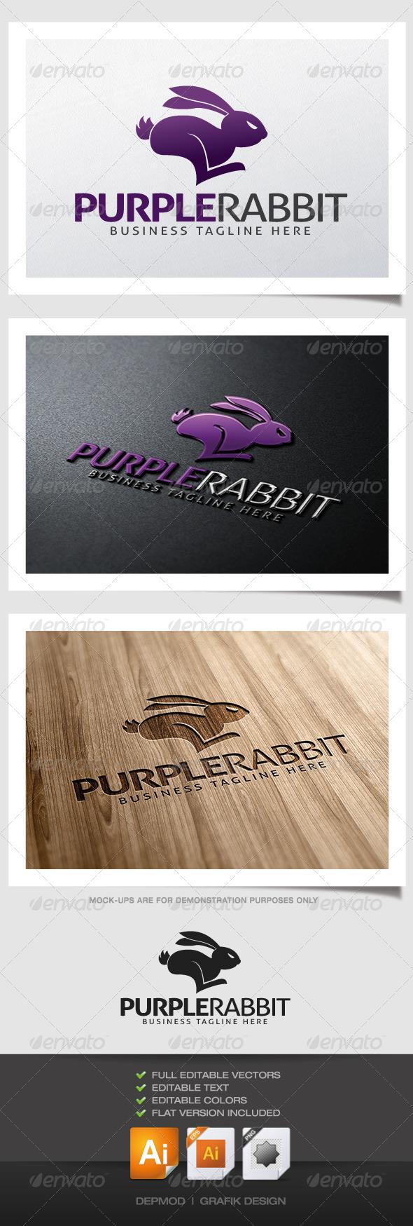 GraphicRiver Purple Rabbit Logo 4832266