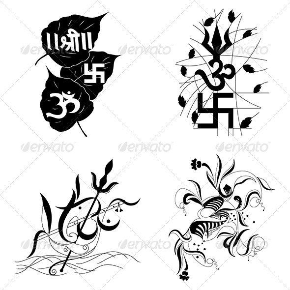 GraphicRiver Hindu Religious sign Aum or Om-Vector Designs Pack 4575813