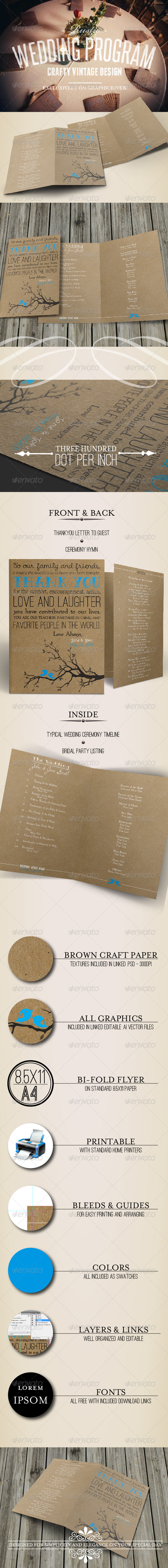 GraphicRiver Rustic Wedding Program 4833196