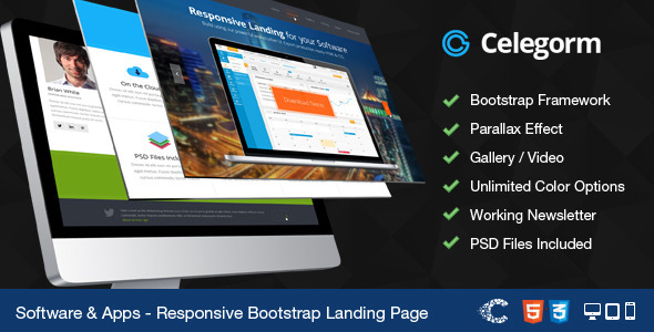 ThemeForest Celegorm Software App Bootstrap Landing Page 4833413