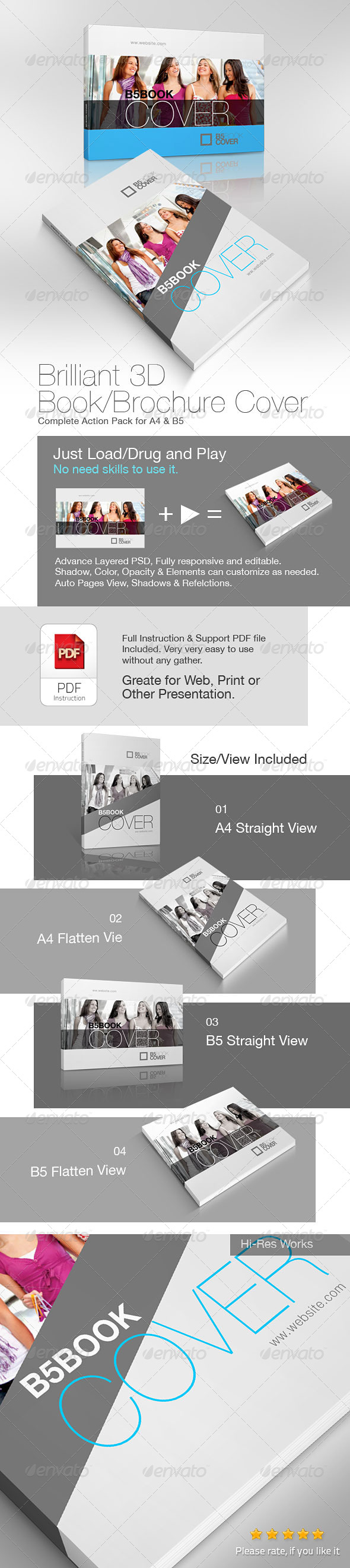 GraphicRiver Brilliant 3D Book Brochure Cover Action 4833428