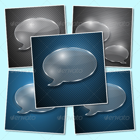 GraphicRiver Speech Bubbles from Glass on Various Backgrounds 4833808