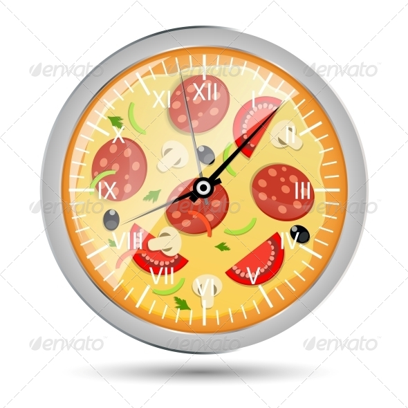 Pizza Watch Concept Vector Illustration