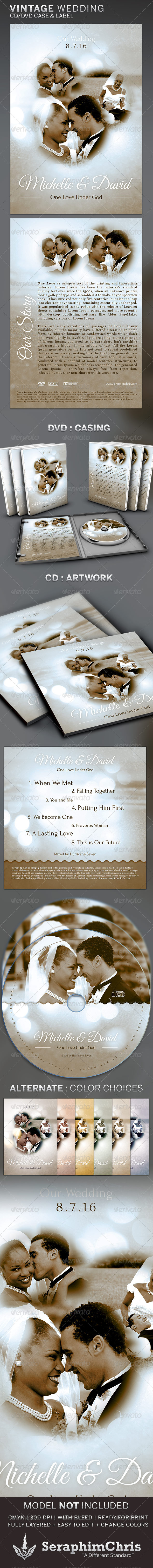 Vintage Wedding: CD/DVD Template - CD & DVD artwork Print Templates
