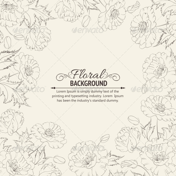 GraphicRiver Frame with Wreath of Poppies 4835785