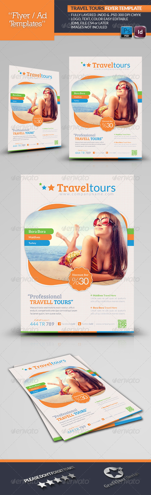 GraphicRiver Travel Tours Flyer Template 4835882